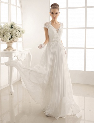 Vestido de novia con escote en pico y encaje hasta el suelo exclusivo_2