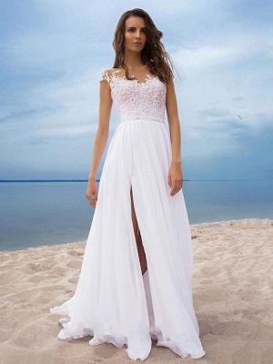 Boho Wedding Dresses 2021 Chiffon V Neck Short Sleeves A Line Split Front Bridal Dresses For Beach Wedding_4