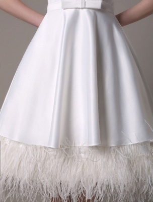 A-Line Wedding Dress Knee-Length Feather Tiered Satin Bow Bridal Dress Exclusive_9