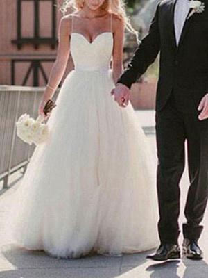 Brautkleid 2021 Ballkleid Herzausschnitt Ärmellos Natürliche Taille Schärpe Tüll Brautkleider Mit Zug_2