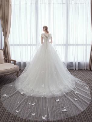 Vestidos de novia de princesa Encaje Watteau Tren Apliques Vestidos de novia de marfil con cuentas_4
