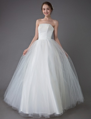 Tulle Wedding Dress Ivory Strapless Sleeveless Princess Dress Ball Gown Floor Length Bridal Dress Exclusive_1