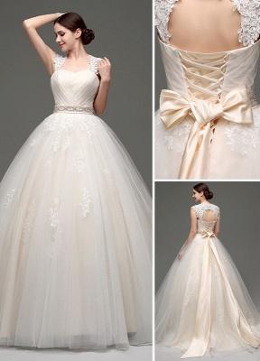 Tulle Cap Sleeves Keyhole Back Princess Wedding Dress With Bow And Rhinestone Sash_1
