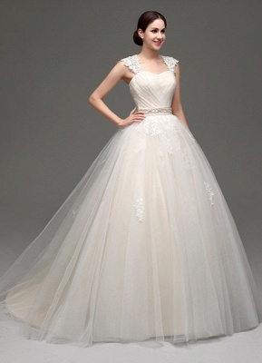 Tulle Cap Sleeves Keyhole Back Princess Wedding Dress With Bow And Rhinestone Sash_3