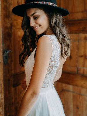 Einfache Brautkleider A-Linie Brautkleider V-Ausschnitt rückenfreie ärmellose Brautkleider_3