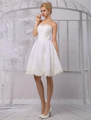 Knielanges Brautkleid aus Satin und Spitze mit Spitze, Langarm-Wrap Exklusiv_5