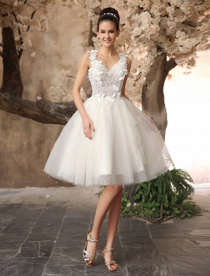 Ivory Backless Lace Applique Tulle Sequins Wedding Dress Exclusive_2