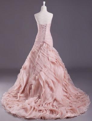 Rosa A-Linie trägerloses herzförmiges Brautkleid mit abgestuftem Sweep-Effekt_3