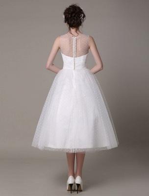 Vestido de novia de tul Sin tirantes Una línea Hasta el té Vestido de novia con lazo Exclusivo_6