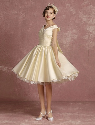 Short Wedding Dresses Satin Vintage Princess Bridal Dress Knee Length Sleeveless Lace Edge Pleated Bridal Gown With Ribbon Bow Exclusive_2