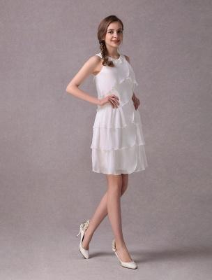 Einfache Brautkleider Elfenbein Chiffon Cocktailpartykleid Perlen Tiered A Line Halfter Kurzes Brautkleid Exklusiv_5