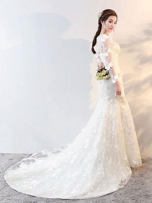 Brautkleider Langarm Meerjungfrau Blumen Applique Bows Elfenbein Brautkleid mit Zug_4