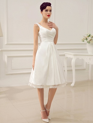 Simple Wedding Dresses Ivory Wedding Dress Knee-Length Backless Straps Lace Bridal Dress Exclusive_2