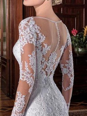 Vintage Hochzeit Brautkleid Mantel Illusion Hals Langarm Spitze Applique Brautkleider mit Zug_4