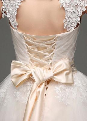 Tulle Cap Sleeves Keyhole Back Princess Wedding Dress With Bow And Rhinestone Sash_8