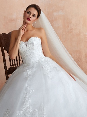 Wedding Dress Princess Silhouette Sweetheart Neck Sleeveless Natural Waist Bridal Gowns With Train_6