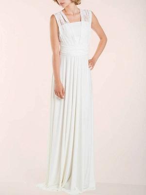 Einfache Brautkleider Mantel V-Ausschnitt Ärmellos Plissee Bodenlangen Mit Zug Spitze Brautkleider_5
