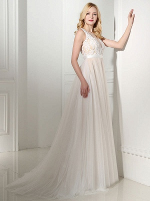 Simple Wedding Dress Tulle Jewel Neck Sleeveless Pearls A Line Bridal Gowns_3