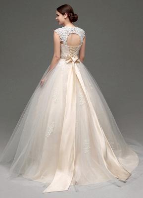 Tulle Cap Sleeves Keyhole Back Princess Wedding Dress With Bow And Rhinestone Sash_6