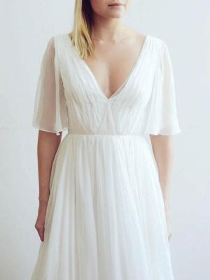 Simple Wedding Dress A Line Chiffon V Neck Half Sleeves Pleated Floor Length With Train Bridal Dresses_3