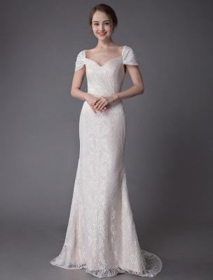 Robe de mariée en dentelle crème vanille chérie robe de mariée à manches courtes robe de mariée sirène avec train exclusif_3