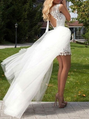 Short Wedding Dress 2021 Lace Jewel Neck Sleeveless Bridal Gowns With Panel Train_3