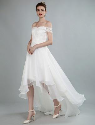 Einfaches Brautkleid A Line Off The Shoulder Ärmellose Spitze Brautkleider Mit Zug Exklusiv_4