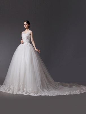 Brautkleider V-Ausschnitt Spitze Applique Brautkleid Pailletten Perlen Illusion Lange Kathedrale Zug Brautkleid_3