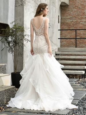 Wedding Bridal Gowns Mermaid Sleeveless V Neck Lace Bridal Gowns With Train_8