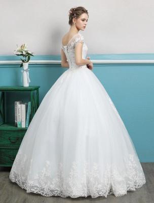 Prinzessin Brautkleider Ballkleider Spitze Perlen Elfenbein bodenlangen Brautkleid_4