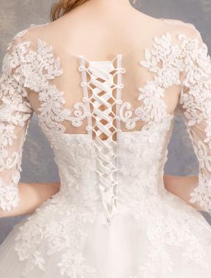 Prinzessin Brautkleider Spitze Illusion Ausschnitt Halbarm Bodenlangen Brautkleid_10