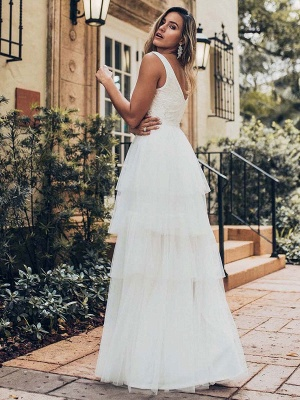 Vestido de novia 2021 Una línea Cuello en V Sin mangas Vestido de pastel de tul multicapa Vestido de novia_2