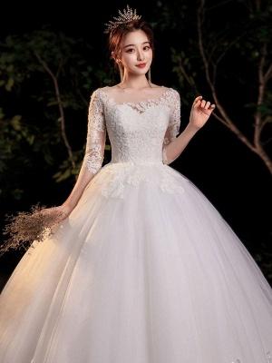 Simple Wedding Dress Eric White Ball Gown Jewel Neck Half Sleeves Applique Long Bridal Dresses_5