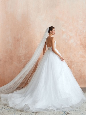 Wedding Dress 2021 Ball Gown Halter Sleeveless Floor Length Lace Tulle Bridal Gowns With Train_4