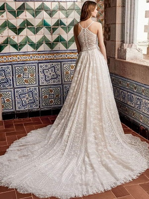 Wedding Gowns With Train V Neck Sleeveless Spaghetti Straps Lace Bridal Dresses_2