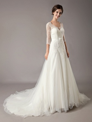 Wedding Dresses A Line Ivory V Neck Lace Tulle Half Sleeve Bridal Dress With Train_6