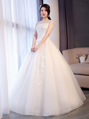 Princess Wedding Dresses Lace Beaded Ball Gowns Sleeveless Floor Length Bridal Dress_2