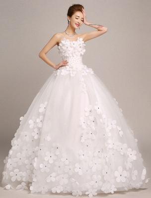 Elfenbein Brautkleider Prinzessin Ballkleider Brautkleid 3D Blumen Trägerlos Perlen Frauen Festzug Kleider_2