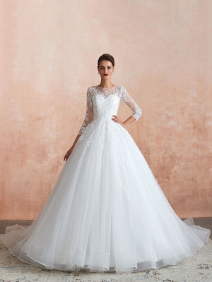 Wedding Gown 2021 3/4 Sleeve Jewel Neck Lace Appliqued Beaded Ball Gown Bridal Wedding Dress With Train_6