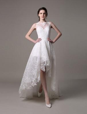2021 Lace High-Low Brautkleid mit Llusion-Ausschnitt und Rücken exklusiv_2