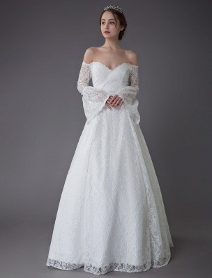 Princess Wedding Dresses Lace Off The Shoulder Long Sleeve A Line Floor Length Bridal Gown Exclusive_1