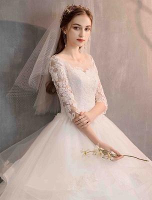 Elfenbein Brautkleider Tüll Illusion Ausschnitt Halbarm Bodenlangen Prinzessin Brautkleid_6