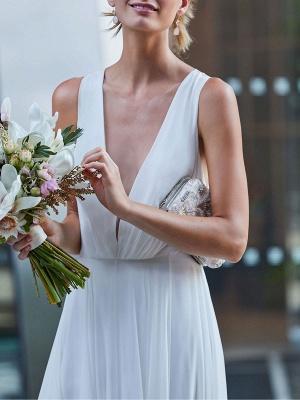 Wedding Dress Deep V-Neck Beaded Sash Chiffon Bridal Dress_5