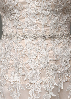 Wedding Dresses Champagne Tulle Strapless Sweatheart Lace Sash Bridal Gown_8