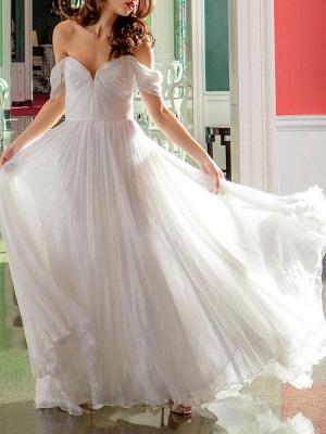 White Bridal Dress A-Line Bateau Natural Waistline Chiffon Back Zipper Floor Length Wedding Dress_5