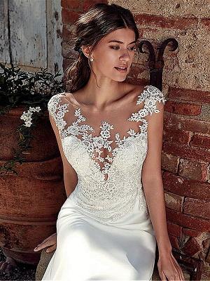 White Simple Wedding Dress White Chiffon Illusion Neckline Sleeveless Court Train Applique Sheath Bridal Gowns_3