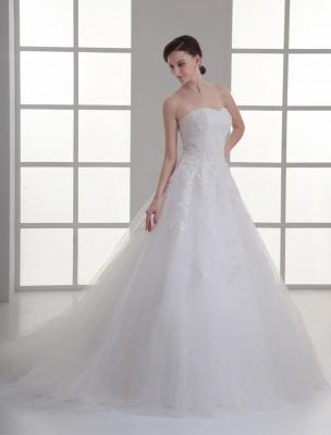 Vestido de novia de red de abalorios sin tirantes con cuello en color marfil_2