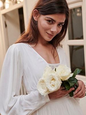 Robe de mariée simple ivoire A-ligne col en V manches longues plissée au sol en mousseline de soie robes de mariée_6