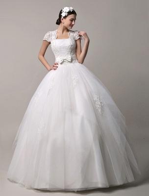 Kurzarm-Spitze-Prinzessin-Hochzeitskleid mit mehrlagigem Tüllrock Exklusiv_2