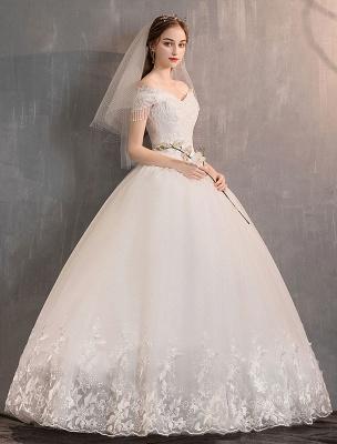 Tüll Brautkleider Prinzessin Brautkleid Schulterfrei Spitze Applique Bodenlangen Ballkleid Brautkleid_8